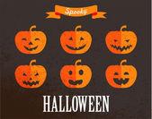 Halloween cute set of pumpkin icons — Stock Vector