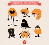 Cute monsters, set of vector illustrations — Stock Vector