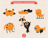 Cute monsters, set of vector illustrations — Stock vektor