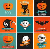 Halloween cute set of icons — Stock Vector