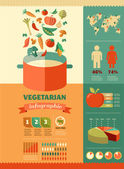 Vegetarian and vegan, healthy organic infographic — Stock Vector