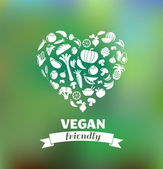Vegetarian and vegan, healthy organic background — Vecteur