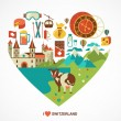 Switzerland love - heart with vector icons — Stock Vector #50629761