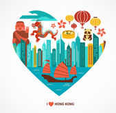 Hong Kong love background and vector illustration — Stock Vector