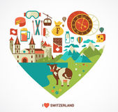 Switzerland love - heart with vector icons — Stock Vector