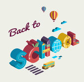 Back to school - text with icons. Vector concept — Stock Vector