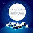 Christmas card with night town and snow — Stock Vector #7356953