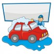 Stock Vector: Carwash man