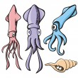 Stock Vector: Squid cartoons