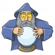 Wizard with magic ball — Stock Vector