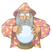 Wizard in pink cape with magic ball — Stock Vector