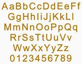 Alfabet i cyfry - złoty — Zdjęcie stockowe