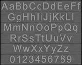 Alfabeto y los números - bloques de metal — Foto de Stock
