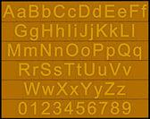 Alfabeto e números - blocos de ouro — Foto Stock
