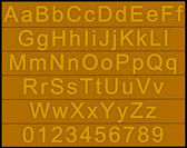 Alphabet and numbers - golden blocks — Stock Photo