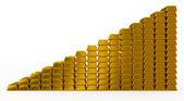 золотые слитки диаграммы — Стоковое фото