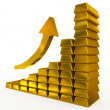 Stock Photo: Gold bars chart