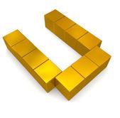 Letter U cubic golden — Stock Photo