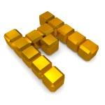 Letter M cubic golden — Stock Photo #29986731