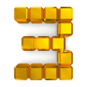 Number 3 cubic golden — Stock Photo