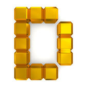 Letter D cubic golden — Stock Photo