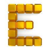 Letter E cubic golden — Stock Photo