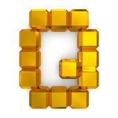 Letter Q cubic golden — Stock Photo