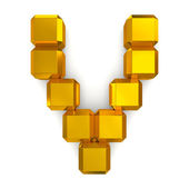 Letter V cubic golden — Stock Photo