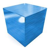 Cube 3d blue metal — Stock Photo