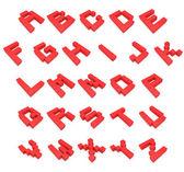 Alphabet 3d cubic red — Stock Photo