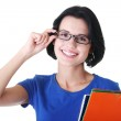 Happy student woman with notebooks — Stock Photo
