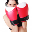 Boxing woman wearing red boxing gloves. — Stock Photo