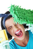 Tired and exhausted cleaning woman — Stock Photo
