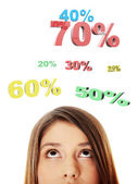 Young girl with her eyes looking up on percentage — Stock Photo