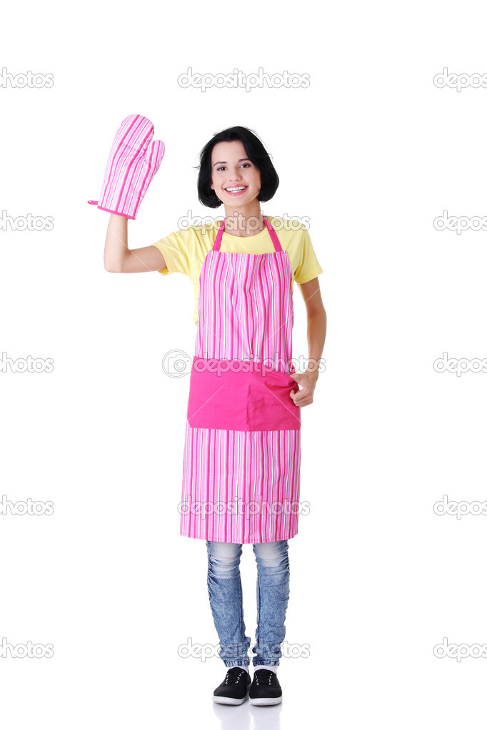 Young housewife in pink apron ang glove, isolated on white   Stock Photo #13266618