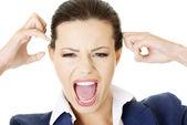Zdůraznil, nebo zlobí podnikatelka křičet nahlas — Stock fotografie
