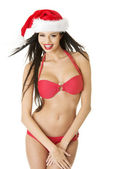 Sexy santa helper in bikini — Stock Photo