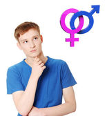 Young man thinking about heterosexual relationship — Stock Photo