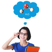Teen girl thinking about chemistry — Stock Photo
