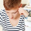 Stock Photo: Teen boy learning