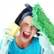 Stock Photo: Tired and exhausted cleaning womscreaming