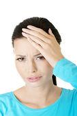 Young sad woman have big problem ,depression or headache — Stock Photo