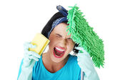 Tired and exhausted cleaning woman screaming — Stock Photo