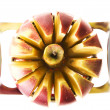 Fresh apple sliced with slicer — Stock Photo