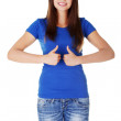 Young student woman gesturing OK — Stock Photo