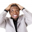 Young black troubled businessman — Stock Photo