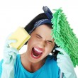 Stock Photo: Tired frustrated and exhausted cleaning woman