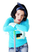 Tired frustrated and exhausted cleaning woman — Stock Photo