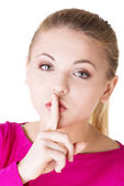 Hush be quiet woman isolated. — Stock Photo