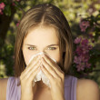 Young woman with allergy — Stock Photo